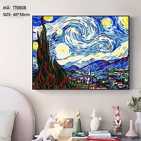 Tranh tự tô màu theo số TT0808 Tranh sơn dầu số hóa tự vẽ Tranh trừu tượng Đêm đầy sao Van Gogh