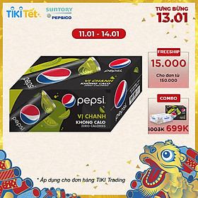 Thùng 24 Lon Nước Ngọt Có Gas Pepsi Vị Chanh Không Calo (330ml/Lon)
