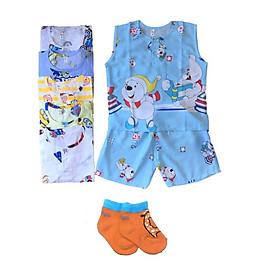 Combo 3 bộ quần áo BA LỖ bé trai vải Tole, lanh 2 da mùa hè size 5-30kg