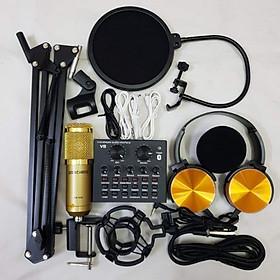 Combo Trọn Bộ thu Âm Micro BM 900, Soundcard V8 – Kèm full phụ kiện kẹp micro bàn, màng lọc âm, tai nghe chụp tai – Chuyên dùng livestream, thu âm, Hát Karaoke Online tại nhà – Livestream dễ dàng – Kết nối được smartphone, máy tính – Hàng nhập khẩu