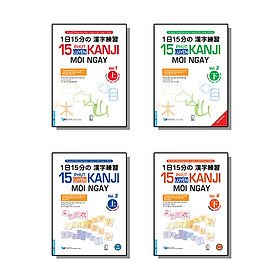 Bộ sách Luyện tập viết chữ Kanji mỗi ngày. Trình độ Sơ - Trung cấp (15 Phút Luyện Kanji mỗi ngày Vol.1, Vol.2, Vol.3, Vol 4)