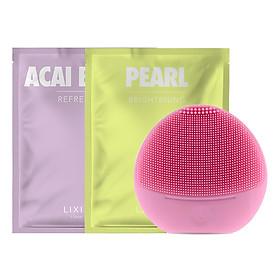 Combo Máy Rửa Mặt Và Massage Da Mặt Cho Da Nhạy Cảm Halio Sensitive + 2 Mặt Nạ Lixibox Green Tea và Acai Berry
