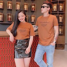 Đồ đôi áo cặp cổ tròn CoupleTina 100% cotton cao cấp - màu cam
