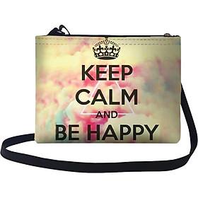 Túi Đeo Chéo Nữ In Hình Keep Calm & Be Happy Live Free - TUTE122