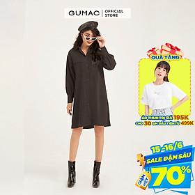 Đầm suông nữ GUMAC DB1149 thiết kế sơ mi 2 túi