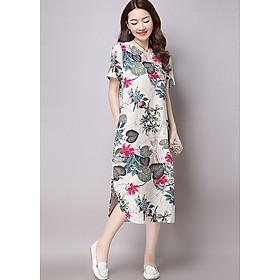 Đầm suông trung niên hoa lá 143