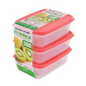 Set 3 hộp nhựa đựng thực phẩm Fitin Pack nắp dẻo nội địa Nhật Bản