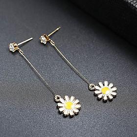 Bông tai nữ cúc họa mi vàng khuyên dài tinh tế cho bạn gái