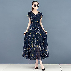 Fun Floral Printed Leisure Dress of Short Sleeves and V-neck Leisure Costume for Woman Summer