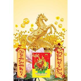 Lịch Gỗ Treo Tường Laminate 2021 Ngựa Vàng Phát Tài (40 Cm x 60 Cm)