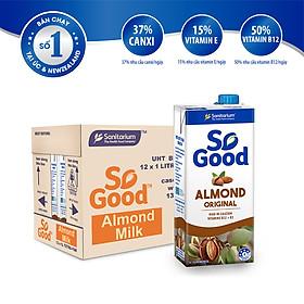 Thùng 12 hôp sữa hạt hạnh nhân So Good 1L/hộp, làm từ hạnh nhân Úc, calo thấp, ít ngọt, sản xuất tại Úc