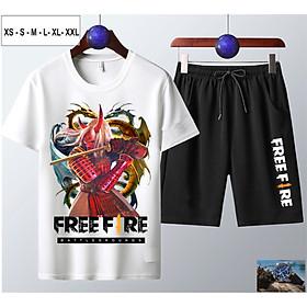 Bộ Áo Free Fire cotton màu trắng cổ tròn + Quần Short nam in hình Quỷ kiếm dạ xoa