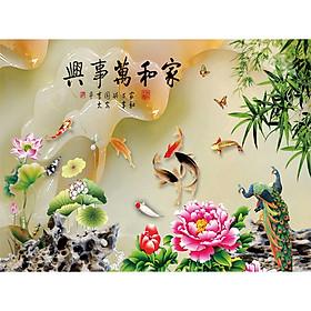 Tranh treo tường - Trang trí phòng khách Chim công 3D/Gỗ MDF Hàn Quốc/Chống ẩm mốc, mối mọt 10398