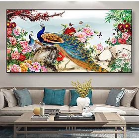 Tranh dán tường Đôi Chim Công và Hoa Mẫu Đơn NewTM-0234