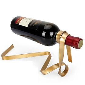 (Toponeto) Magic Floating Colored Ribbon Wine Bottle Holder Rack Stand Bracket  Art