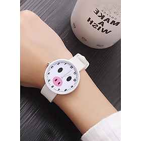 Đồng hồ nữ Ulzang dây silicon mặt heo ủn dễ thương