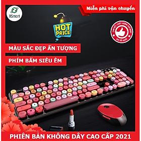 Bộ bàn phím và chuột không dây XSmart MOFii N720 MẪU MỚI màu SON, Hồng cực đẹp, COMBO dùng cho máy tính, pc, laptop - Hàng Chính Hãng