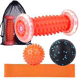 Lixada Foot Massage Roller Spiky Ball Fascial Ball Resistance Band Storage Pouch Set for Pain Relief Stress Relief