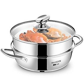 Nồi hơi nước 2 lớp Maxcook thương hiệu Mỹ bằng thép không gỉ 304 đáy nồi 26cm dụng cụ nấu nướng cho nhà bếp