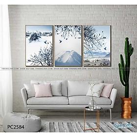 Bộ 3 Tranh Canvas Phong Cảnh Mây Núi - Tranh Linh