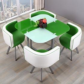 Bàn ăn kính cường lực kèm 4 ghế da - Bộ bàn ghế phòng ăn - Bàn trà  chân sắt, mặt kính cường lực, Ghế da pu cao cấp
