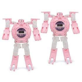 2 Đồ chơi lắp ghép ĐỒNG HỒ BIẾN HÌNH ROBOT SIÊU NHÂN màu hồng dành cho bé gái