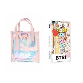 Combo 2 món đồ gồm túi xách hologram BTS và bookmark BTS CHIBI xinh xắn thần tượng Hàn Quốc