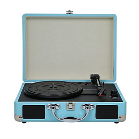 Turntable With Speakers Vintage Phonograph Record Player Stereo Sound Black EU-type