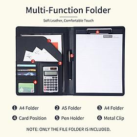 Kẹp tài liệu đa chức năng bằng da PU kích thước A4 với ngăn đựng thẻ giấy tờ tiện dụng cho tài liệu A4 A5