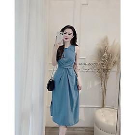 váy suông nữ dáng dài sát nách xoắn eo dây buộc nơ sau màu xanh dịu dàng