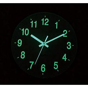 Đồng hồ treo tường kim trôi dạ quang phát sáng ban đêm - dễ dàng xem giờ - Đường kính 30cm - Mặt kính phẳng - không tiếng tíc tắc