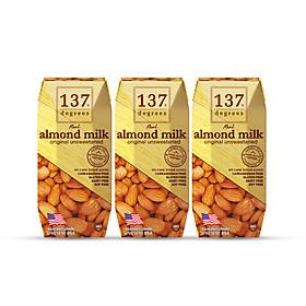 Sữa Hạt Hạnh Nhân Không Đường 137 DEGREES 180ml (Lốc 3 hộp)