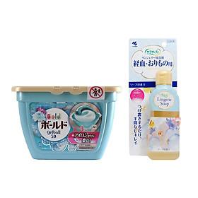 Combo tiện ích: Hộp viên giặt xả quần áo Nhật + Chai nước giặt đồ lót 120ml Nhật