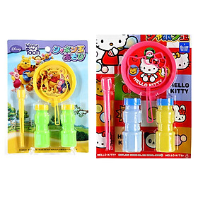 Combo Bộ thổi bong bóng xà phòng Pooh + Kitty nội địa Nhật Bản