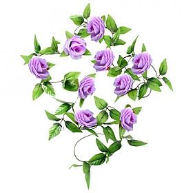 Chùm hoa hồng dây leo 9 bông dài 2m4 trang trí nội thất cao cấp - Dây hoa lá giả