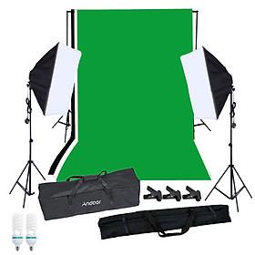 Bộ Đèn Studio Chụp Ảnh Chân Dung Kèm Phông Nền Chụp Ảnh Andoer (2 Bóng Đèn 125W + 2 Softbox + 3 Phông Nền + Bộ Cố Định Phông Nền + 3 Kẹp Cố Định + 1 Túi Đựng