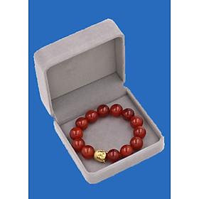 Vòng đeo tay mã não đỏ 14 ly cẩn hạt Phật A Di Đà inox vàng VMNONLV14 HỘP NHUNG - hợp mệnh Hỏa, mệnh Thổ
