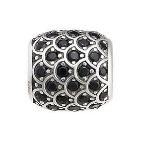 Hạt charm nam DIY PNJSilver My Man hình trụ tròn đính hạt màu đen 14279.000-BO
