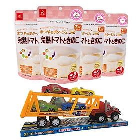 Combo 4 gói cháo gạo koshihikari ăn dặm cà chua chín và nấm Matsuya – tặng 1 xe container và 4 xe tải
