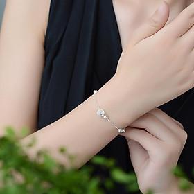 Vòng lắc tay chân bạc nữ hạt châu to phong cách Hàn Quốc tặng ảnh Vcone