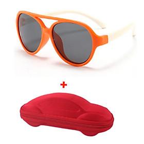 Mắt kính trẻ em gọng dẻo, Kính mát đi đường chống tia cực tím cho bé ( tặng hộp đựng mắt kính hình ô tô )