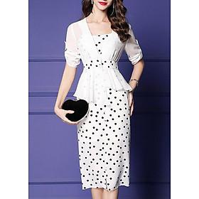 Đầm Váy Ôm Công Sở Kiểu Đầm 2 Dây Kèm Áo Khoác Nhẹ Dáng Peplum Tay Lỡ GOTI 3100