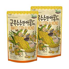 Combo 2 gói Hạnh nhân vị bắp nướng Hàn Quốc Tomsfarm RoastCorn Almond 210g 2ea