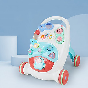 Multifunctional Baby Walker Anti-Rollover Sit-to-Stand Walker Stroller with Multiple Activities Music Toys Center Push