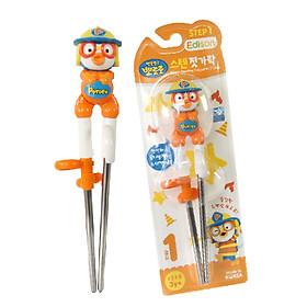 [Dụng cụ tập ăn] Đũa tập ăn xỏ ngón inox cho bé từ 3 tuổi hình Pororo màu cam chính hãng Edison - Hàn Quốc