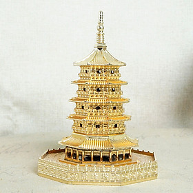 Mô hình tháp Lôi Phong Hàng Châu cao 15cm màu vàng, mô hình trang trí bàn làm việc, trang trí phòng khách