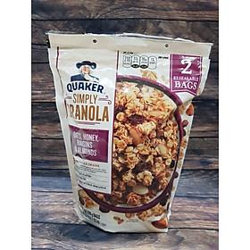Yến Mạch Granola Quaker Nho Khô Hạnh Nhân Mật Ong - Granola Almond Rasin Honey túi 2lbs (910gram)