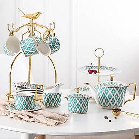 Bộ ấm trà xanh sứ xương kèm khay bánh và kệ treo