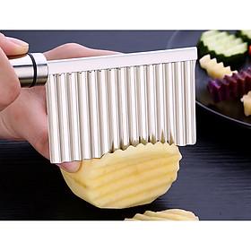 Dao thái lưỡi lượn inox sóng tạo hình củ quả IN05 (Dao cắt khoai tây, cà rốt, xu hào, su su...)