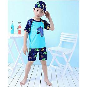 Bộ Đồ Bơi Khủng Long Xanh Dành Cho Bé Trai CaoTừ 85cm - 125cm chất vải Polyeste thân thiện với trẻ em, mau khô, thấm hút mồ hôi tốt, thiết kế thời trang bắt mắt - Tặng kèm nón bơi vải cùng màu